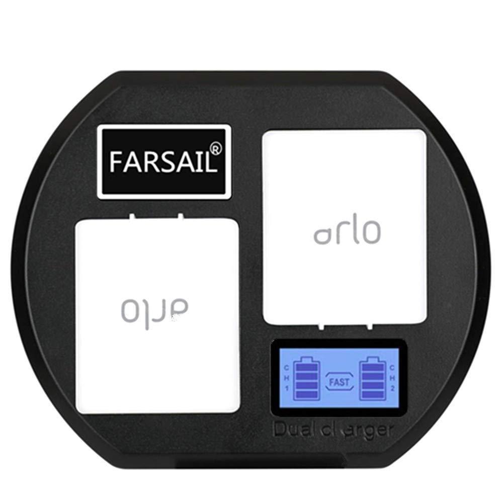 FARSAIL LCD Display Camera Battery Charger Stations Compatible with Arlo Rechargable Batteries - Arlo Pro & Pro 2/VMA4400, Arlo Go/VMA4410, Arlo Light/ALS1101
