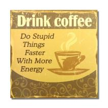 Adeco Decorative Wood Wall Hanging Sign Plaque Drink Coffee Yellow Brown Home Decor