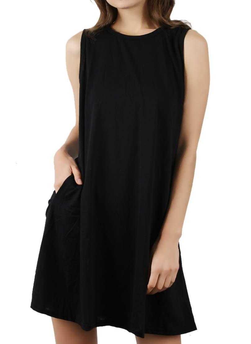 DD DEMOISELLE Women Nursing Dress Plus Size, Women's Summer Sleeveless Casual Swing Simple T-Shirt Loose Dresses Black M