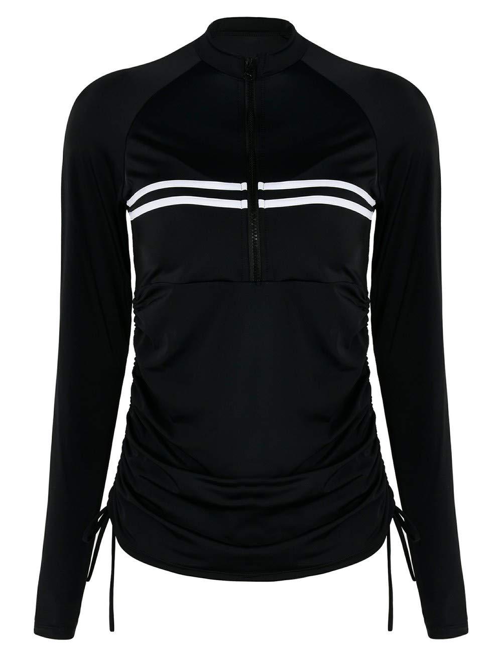 Septangle Women's UPF 50+ Long Sleeve Rash Guard Swimsuit Zipper Swimwear Athletic Tops