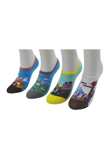 Bingerlily Women's (4 Pairs) Thin No Show Socks, Non Slip Low Cut Cotton Flat Boat Line Socks