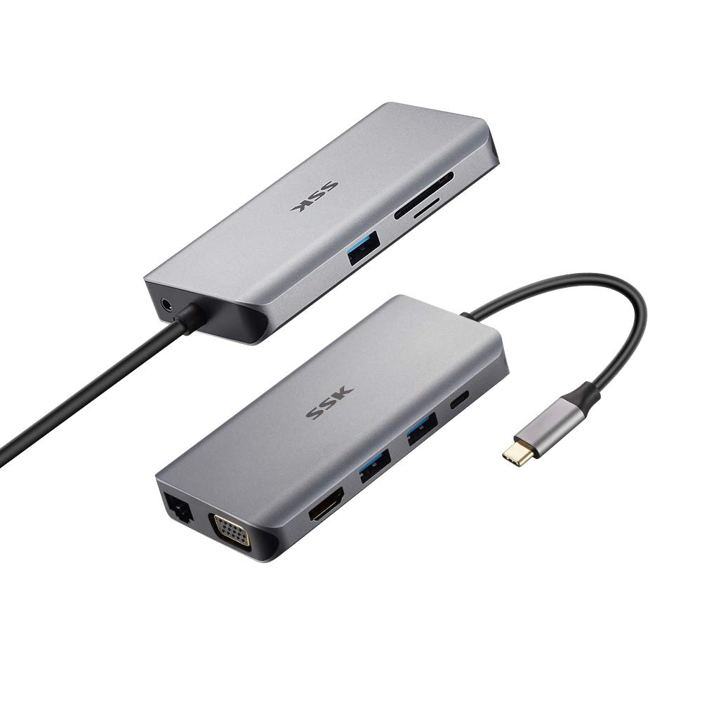 SSK USB C Hub, 10 in 1 Type C Adapter with 4K HDMI,VGA,RJ45, PD 3.0 Charging Port, USB3.0 Port, Card Reader, Compatible for MacBook/Pro/Air (Thunderbolt 3), iPad, Samsung, and More USB C Devices