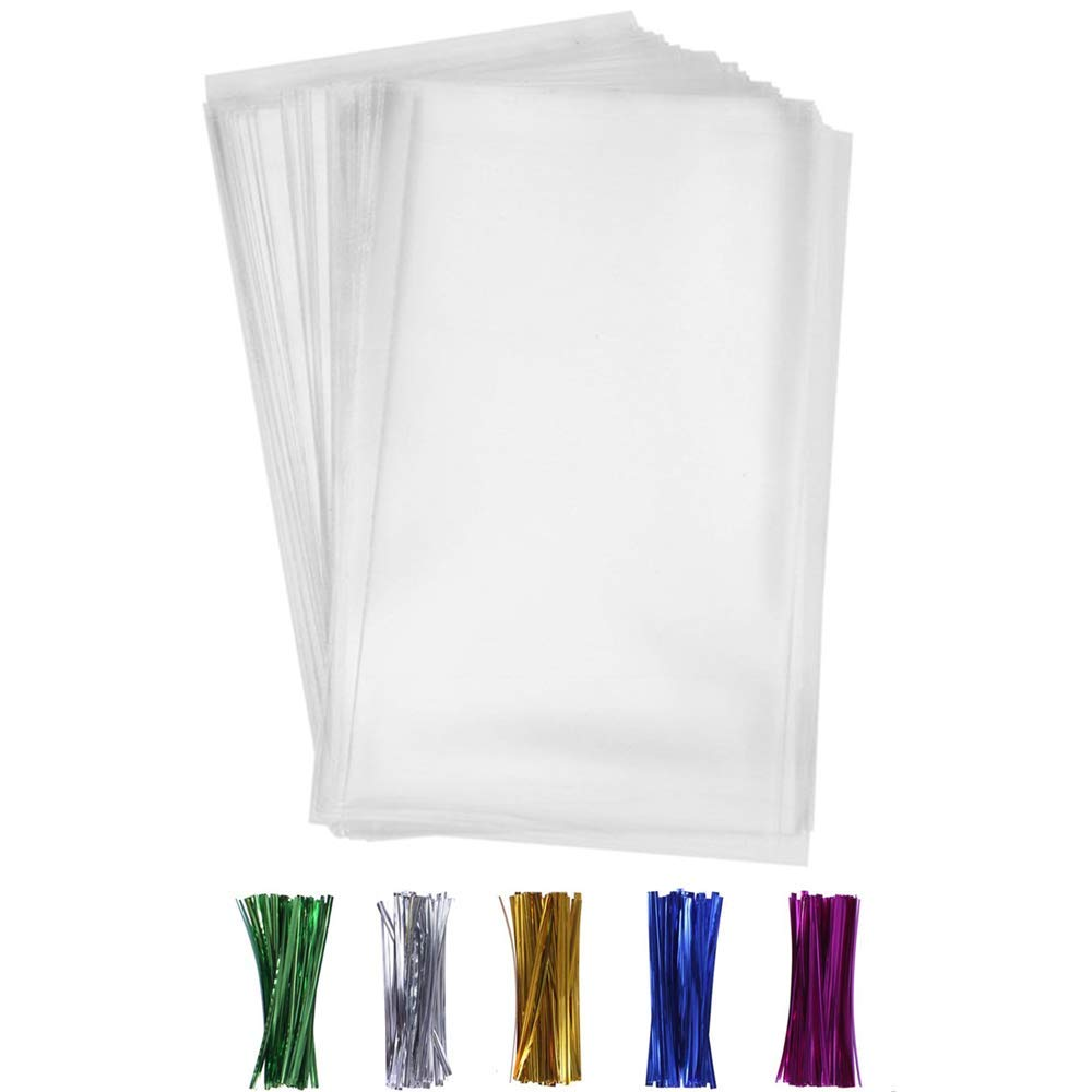 200 PCS Treat Bags,Party Favor Bags with 200 Twist Ties 5 Mix Colors Good for Bakery, Cookies, Candies,Dessert,Popcorn(8'' x 12'')