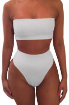 Viottiset Women's Bandeau Thong High Waisted Bikini 2 Piece Swimsuit Removable Strap