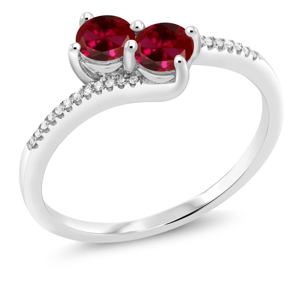 """Gem Stone King 10K White Gold""""Forever United"""" 2-stone Diamond Right-hand Engagement Birthstone Ring Round Red Created Ruby (0.67 cttw)"""