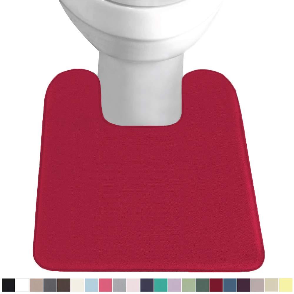 Gorilla Grip Original Thick Memory Foam Contour Toilet Bath Rug 22.5x19.5, Square, Cushioned, Soft Floor Mats, Absorbent Premium Bathroom Rugs, Machine Wash and Dry, Plush Bath Room Carpet, Red