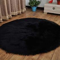 HUAHOO Faux Fur Sheepskin Rug Black Kids Carpet Soft Faux Sheepskin Chair Cover Home Décor Accent for a Kid's Room,Childrens Bedroom, Nursery, Living Room or Bath. 6' Round