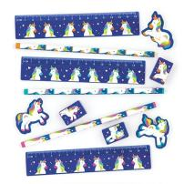 Baker Ross Rainbow Unicorn Stationery Sets (Pack of 4) Stationery for Kids Back to School Kit, or Party Favors!