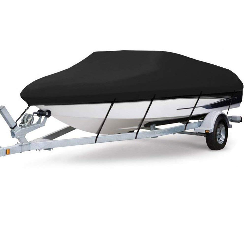 TIROL Waterproof Boat Cover 600D PVC Runabout Boat Cover Outdoor Professional Boat Cover Fits V-Hull, Tri-Hull, Runabout Boat Cover.