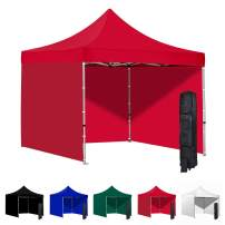 Vispronet 10x10 Instant Canopy Tent and 3 Side Walls – Commercial-Grade Aluminum Frame – Water Resistant Canopy Top and Sidewalls – Includes Canopy Bag and Stake Kit (Red)
