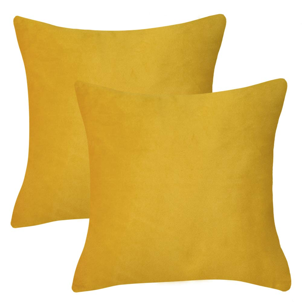 KOMFIER Soft Velvet Decorative Throw Pillow Cover for Couch Sofa Chair Bed, Pack of 2, Square Solid Color (Radiant Yellow, 18x18 inches)
