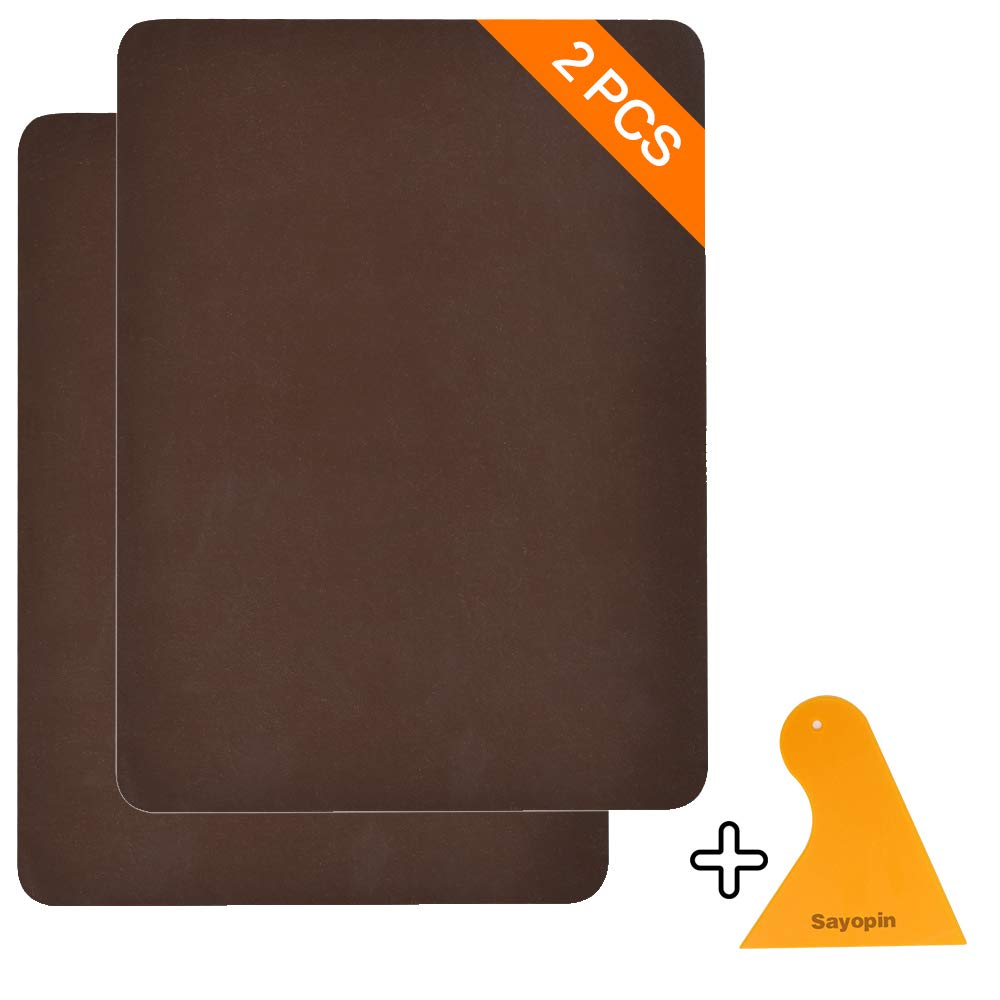 Sayopin Leather Repair Patch Kits for Car Seats Couches and Elbow 2 Pieces Self-Adhesive Patch for Leather and Vinyl Repair, 8× 11inch Leather Sofa Repair Kits(Brown)