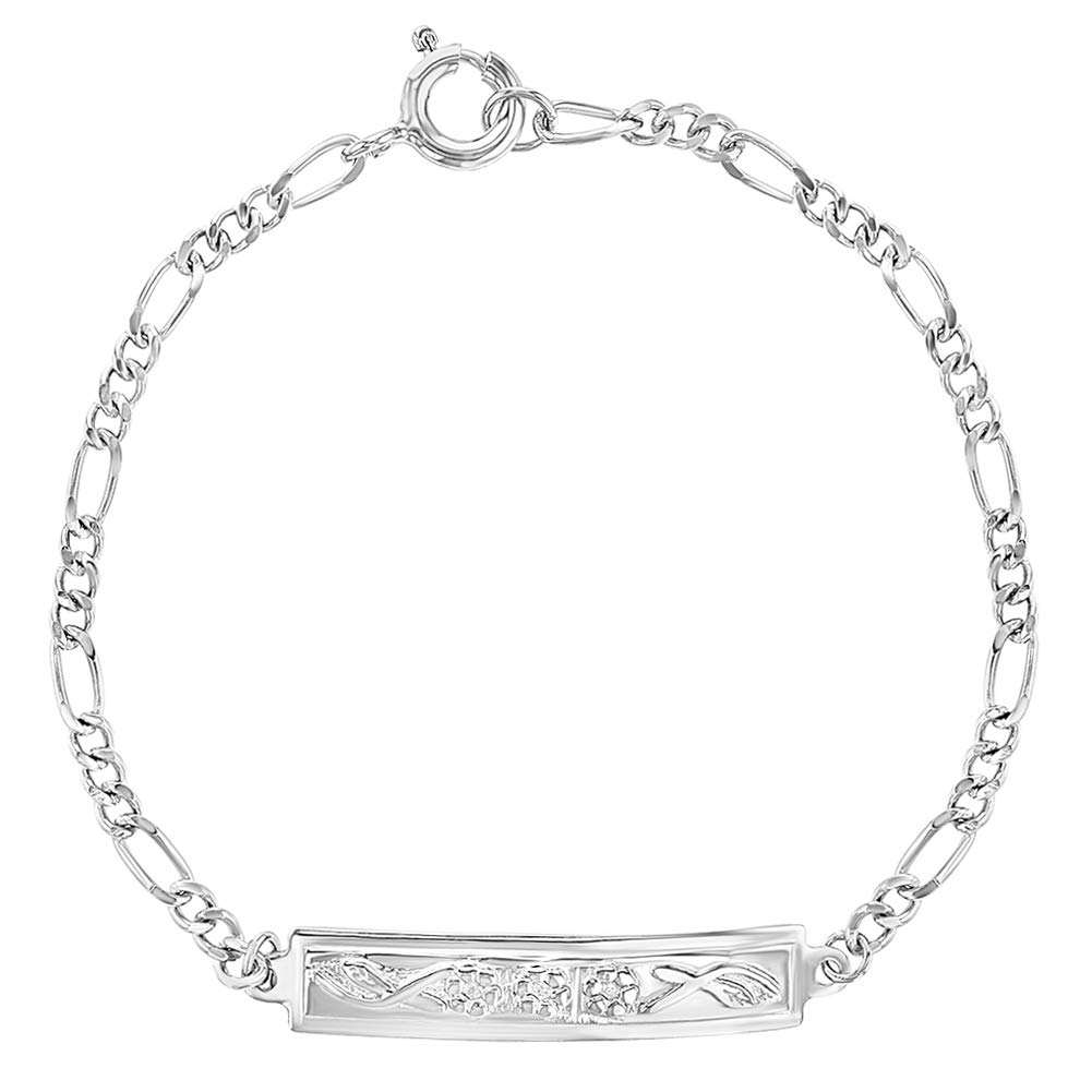 """925 Sterling Silver Flower Tag ID Bracelet for Toddlers Little Girls 5.5"""""""