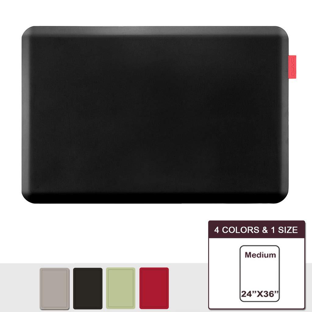 NUVA Premium Standing Floor Mat 36 x 24 in, NO PVC!!! 100% PU Comfort Ergonomic Material, 4 Non-slip PU Elastomer Strips on Bottom (Black)