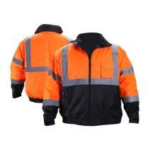 FONIRRA Hi-Viz Safety Jacket for Men with Reflective Liner,Waterproof 100% Polyester ANSI Class 3 Full Zipper Bomber Work Jacket Hoodie(Orange,M)