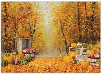 Allenjoy 7x5ft Autumn Forest Scenery Photography Backdrop Thanksgiving Golden Fall Barn Pumpkin Harvest Background Watercolor Nature Maple Leaves Baby Kids Portrait Party Banner Photo Studio Props