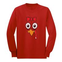 TurkeyFace - Cute Girly Turkey - Funny Thanksgiving Long Sleeve Kids T-Shirt