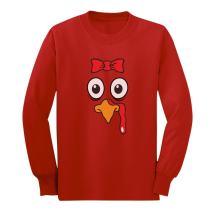 TurkeyFace - Cute Girly Turkey - Funny Thanksgiving Long Sleeve Kids T-Shirt