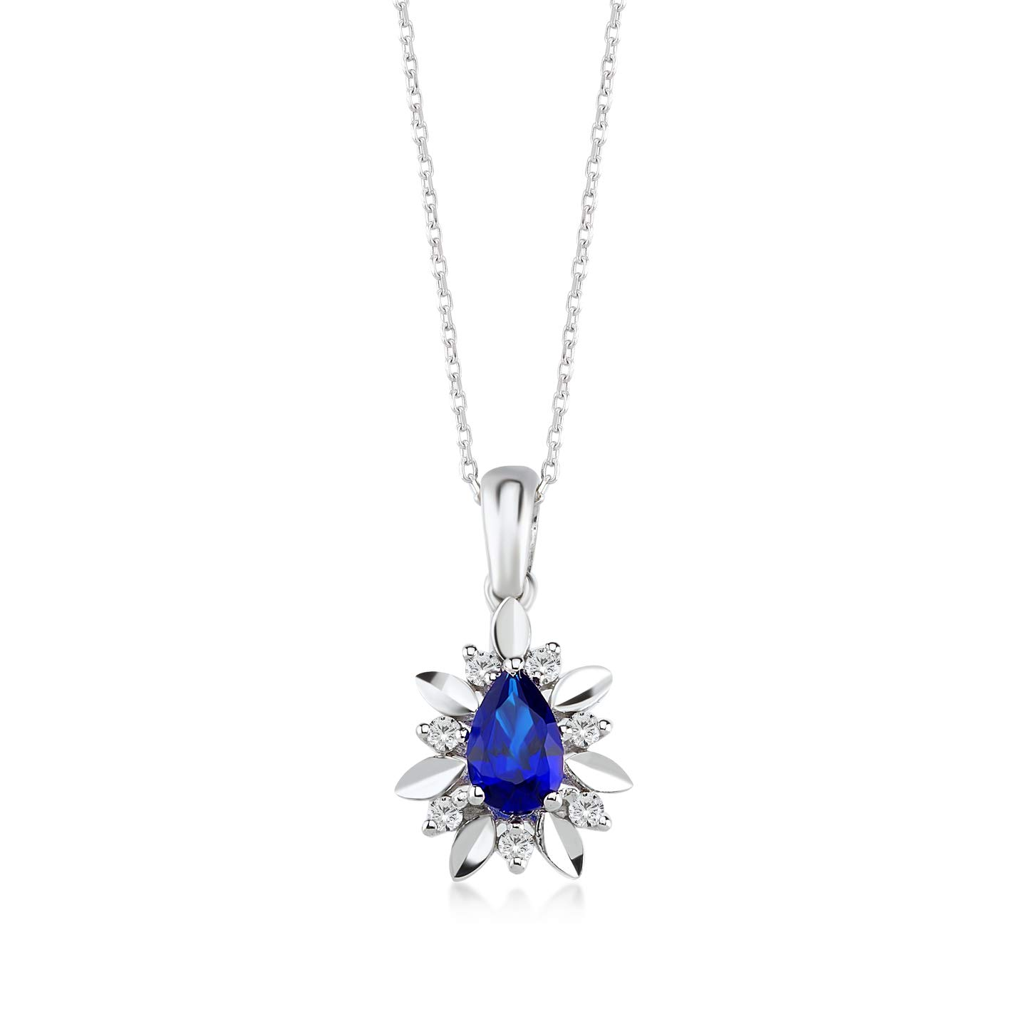 """Gelin 14k White Gold 0,07 ct Real Diamond Pendant Necklace for Women, 18"""""""