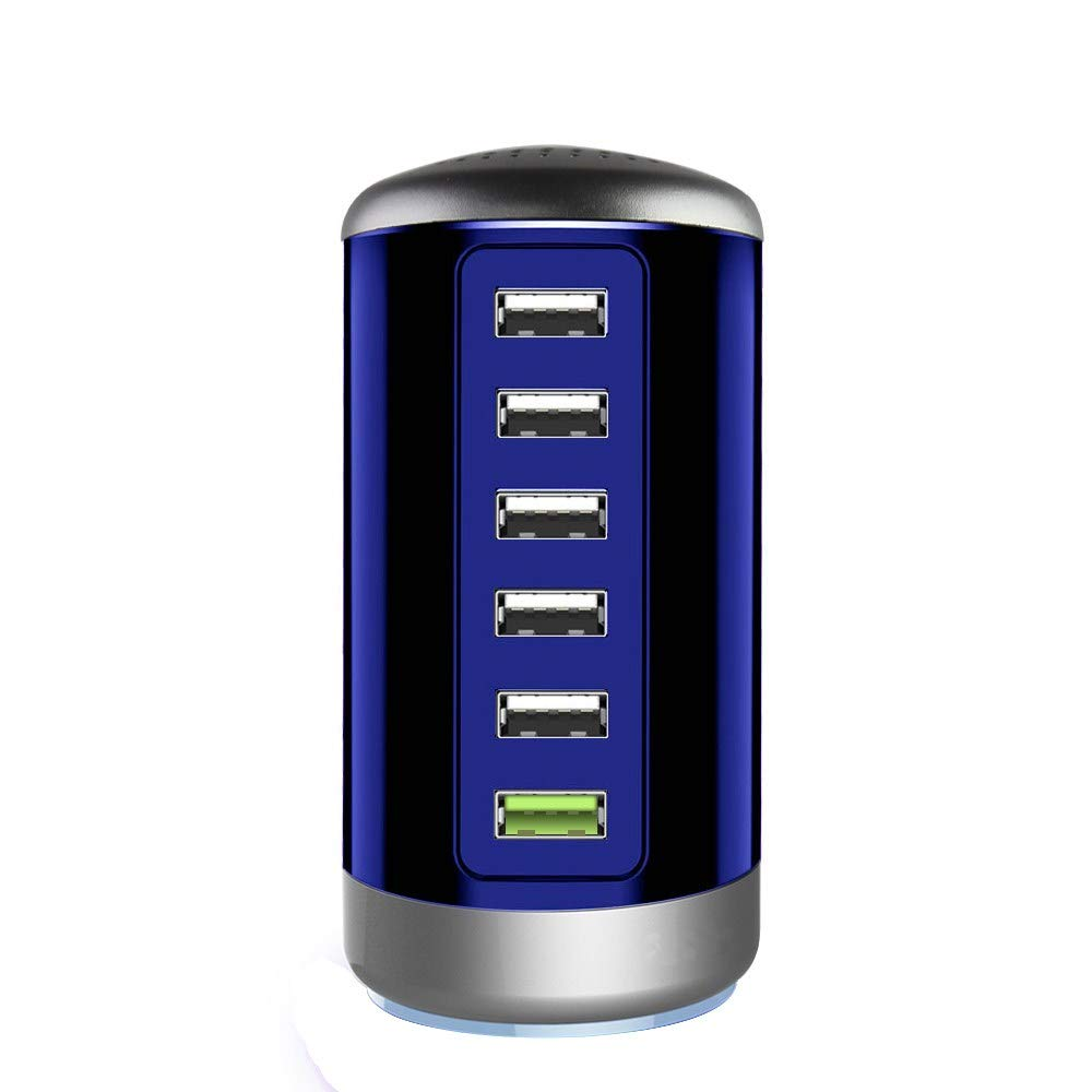 Quick Charge 3.0 USB Wall Charger 6 Ports Desktop QC 3.0 USB Hub Charging Station Multi USB Charger Fast Charging Compatible with Phones,Tablets Smartphones and More(Blue)