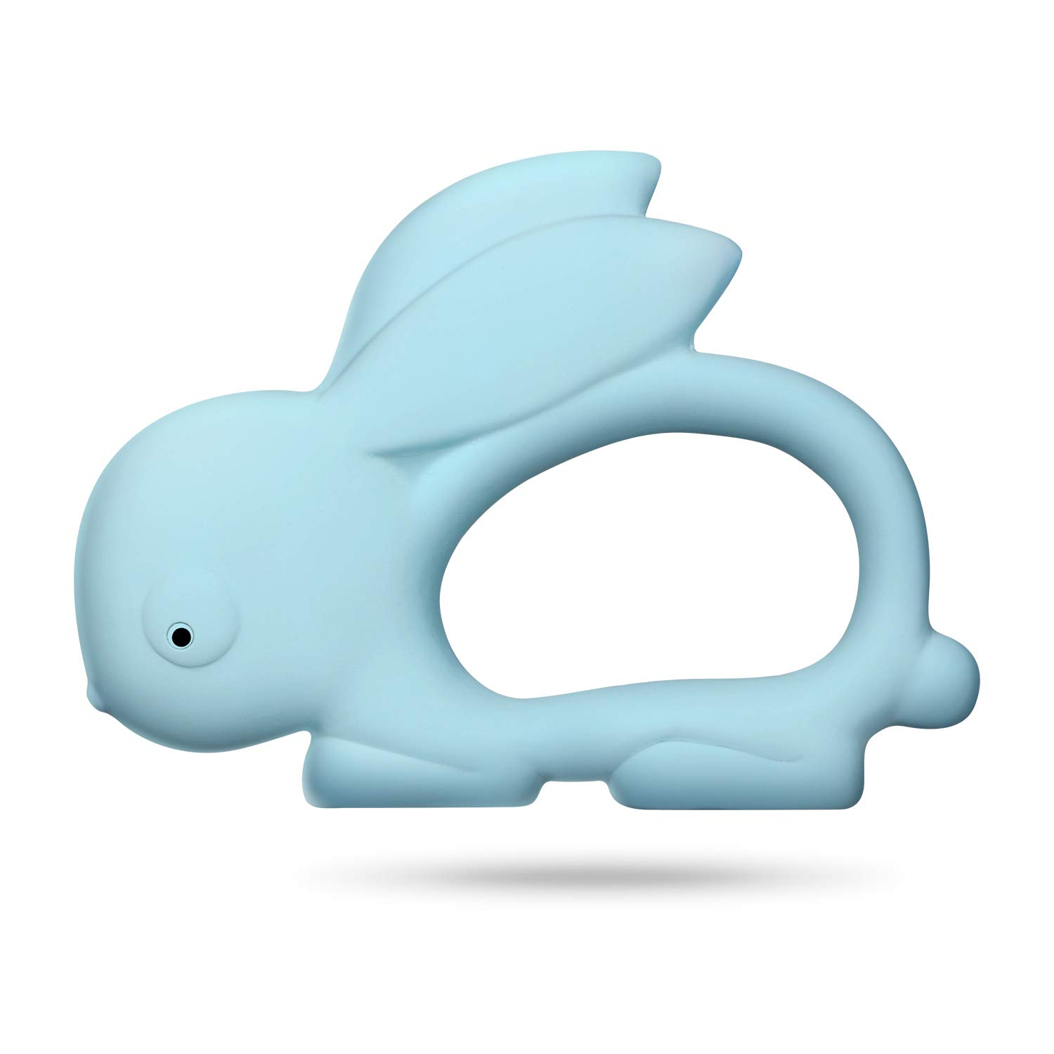 CALLMYBO Rabbit Teether Teething Toy for Baby, Silicon Free 100% Natural Rubber Baby Teether Multi-Textured Soft & Soothing Easy-Hold, Lovely Gift for Babies (BPA Free, Freezer & Dishwasher Safe).