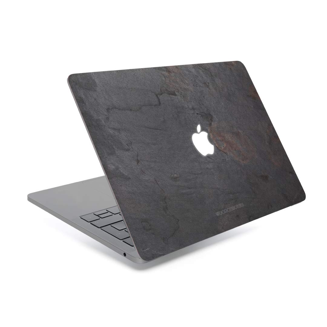 Woodcessories - Skin Compatible with MacBook Made of Real Slate Stone, EcoSkin (MacBook 12, Volcano Black)