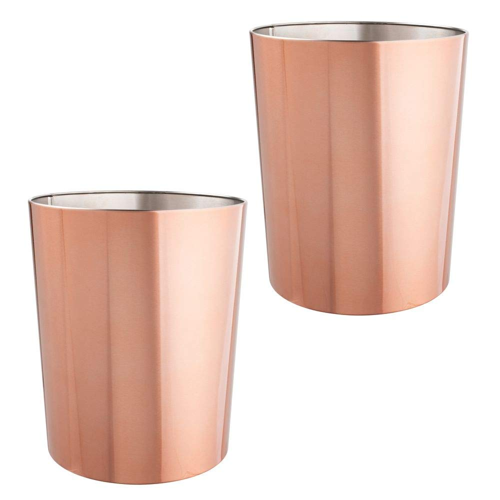 mDesign Round Metal Small Trash Can Wastebasket, Garbage Container Bin for Bathrooms, Powder Rooms, Kitchens, Home Offices, Durable Stainless Steel, 2 Pack - Rose Gold