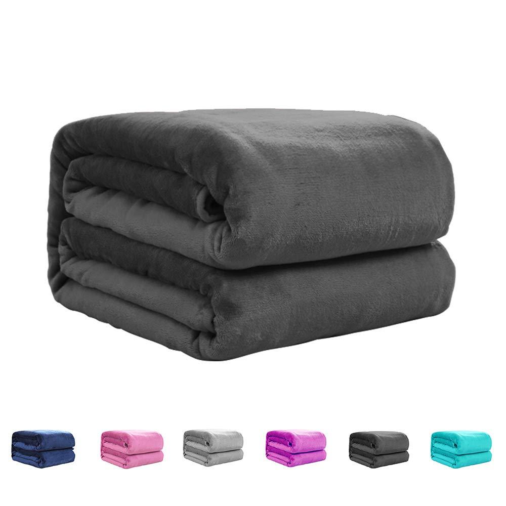 "Uozzi Bedding Dark Gray Throw Blanket Fuzzy Fleece Flannel Reversible All Season TV Blanket Super Soft and Warm Lightweight Cozy Luxury Microfiber Toddler Blanket 50""x60"""