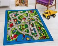 "Kids Road Rugs (4'11"" x 6'11"") Boys/Girls/Children/Toddler Educational Play mat for School/Daycare/Nursery Non-Slip Area Rug (Gray/Multi)"