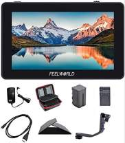 FEELWORLD F6 Plus 5.5 Inch 3D Touch Screen IPS FHD1920x1080 Support 4K HDMI Field Monitor On DSLR Camera DC and Type-C Input with Tilt Arm and 12V Adapter (with Battery and Charger)