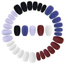 Wobe 120pcs Colorful Coffin Nails Matte False Gel Nails Art Tips Sets Full Cover Medium Matte False Nails for Ballerina Cosplay Office Lady 5 Colors