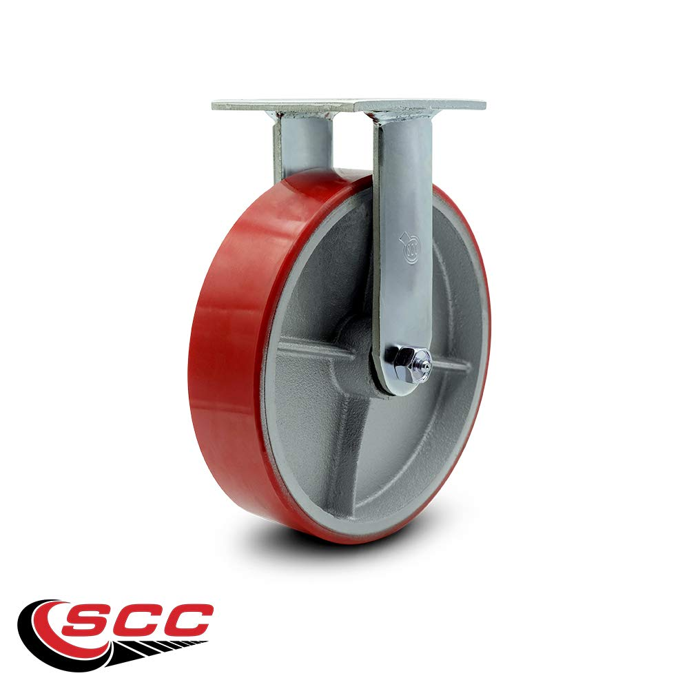 """Service Caster - 8"""" x 2"""" Polyurethane Wheel Rigid Caster - Red on Silver - Non Marking - 1,250 Lbs/Caster"""