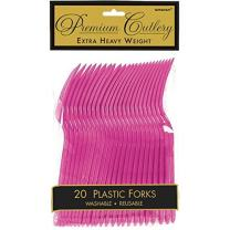 Premium Heavy Weight Plastic Forks | Magenta | Pack of 20 | Party Supply