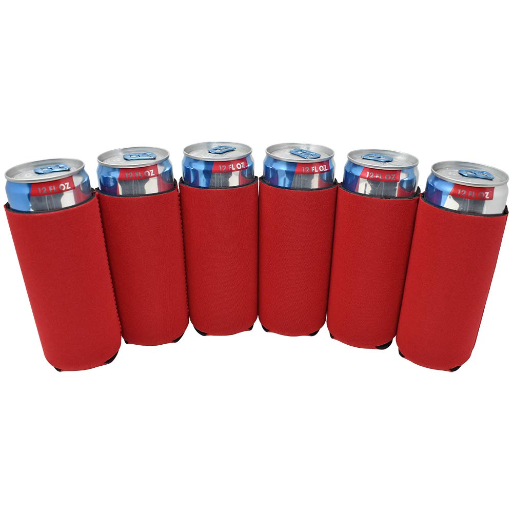TahoeBay 6 Slim Can Sleeves - Blank Neoprene Beer Coolers – Compatible with 12oz RedBull, Michelob Ultra, White Claw Spiked Seltzer (Red, 6)