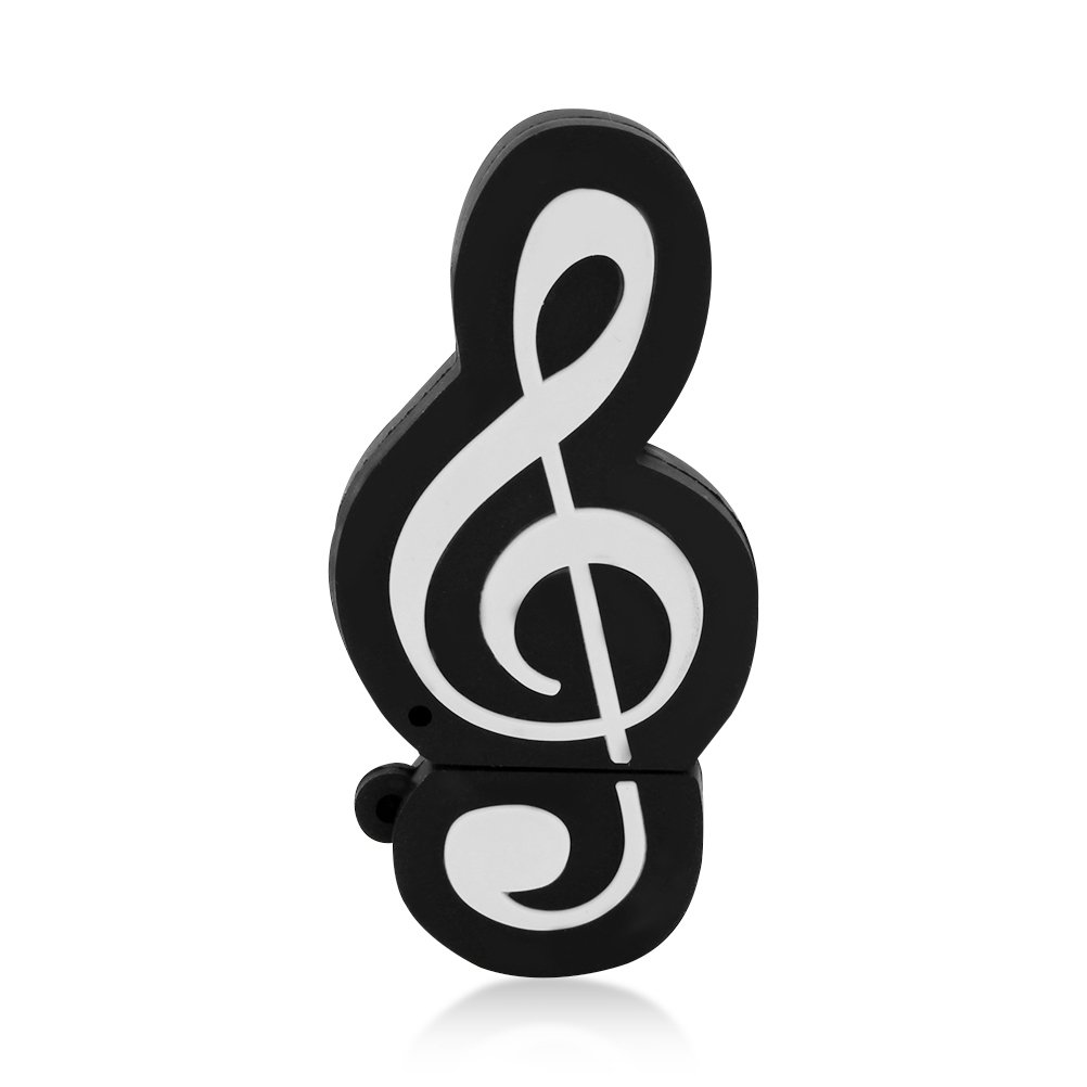 CHUYI Novelty and Cute Music Note Shape Design 128GB USB 2.0 Flash Drive Pen Drive Memory Stick Storage Cool Thumb Drive U Disk Gift (Black)
