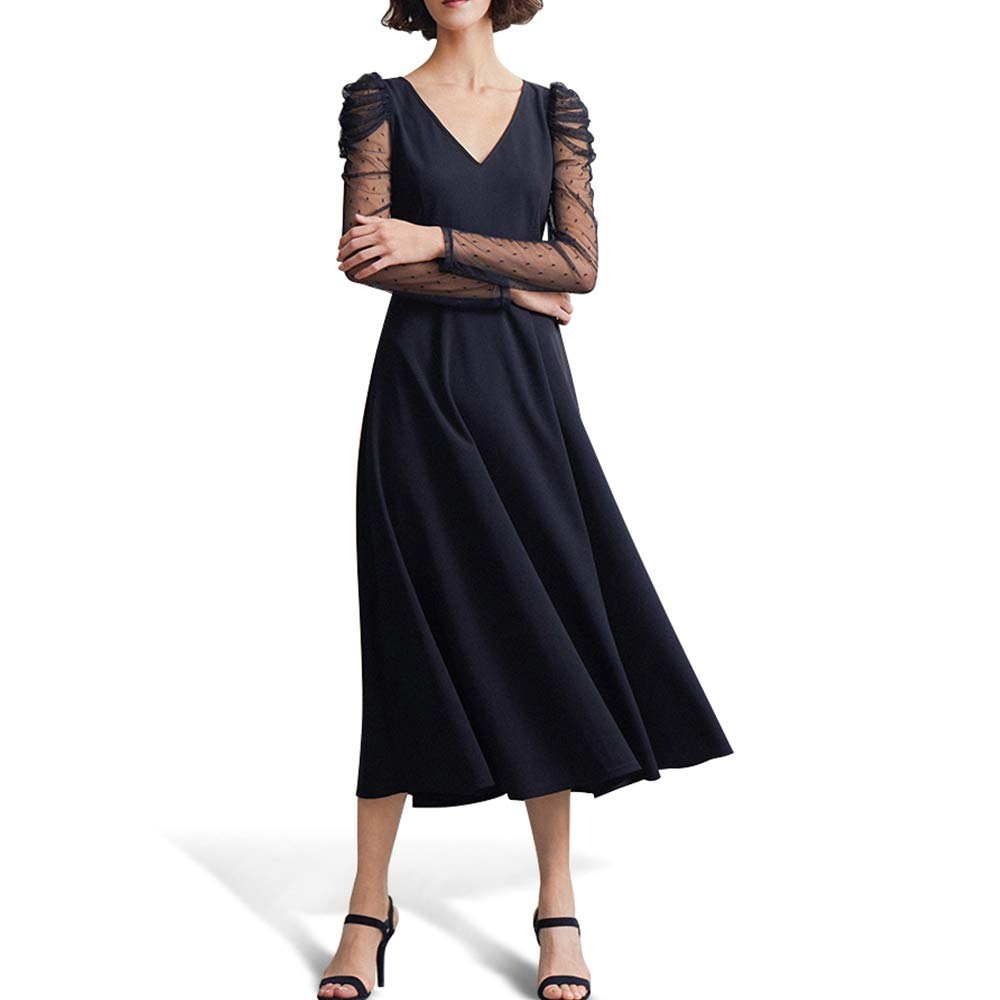 FASHIONMIA Women's Long Sleeve V-Neck Midi Swing Formal Cocktail Dress Black
