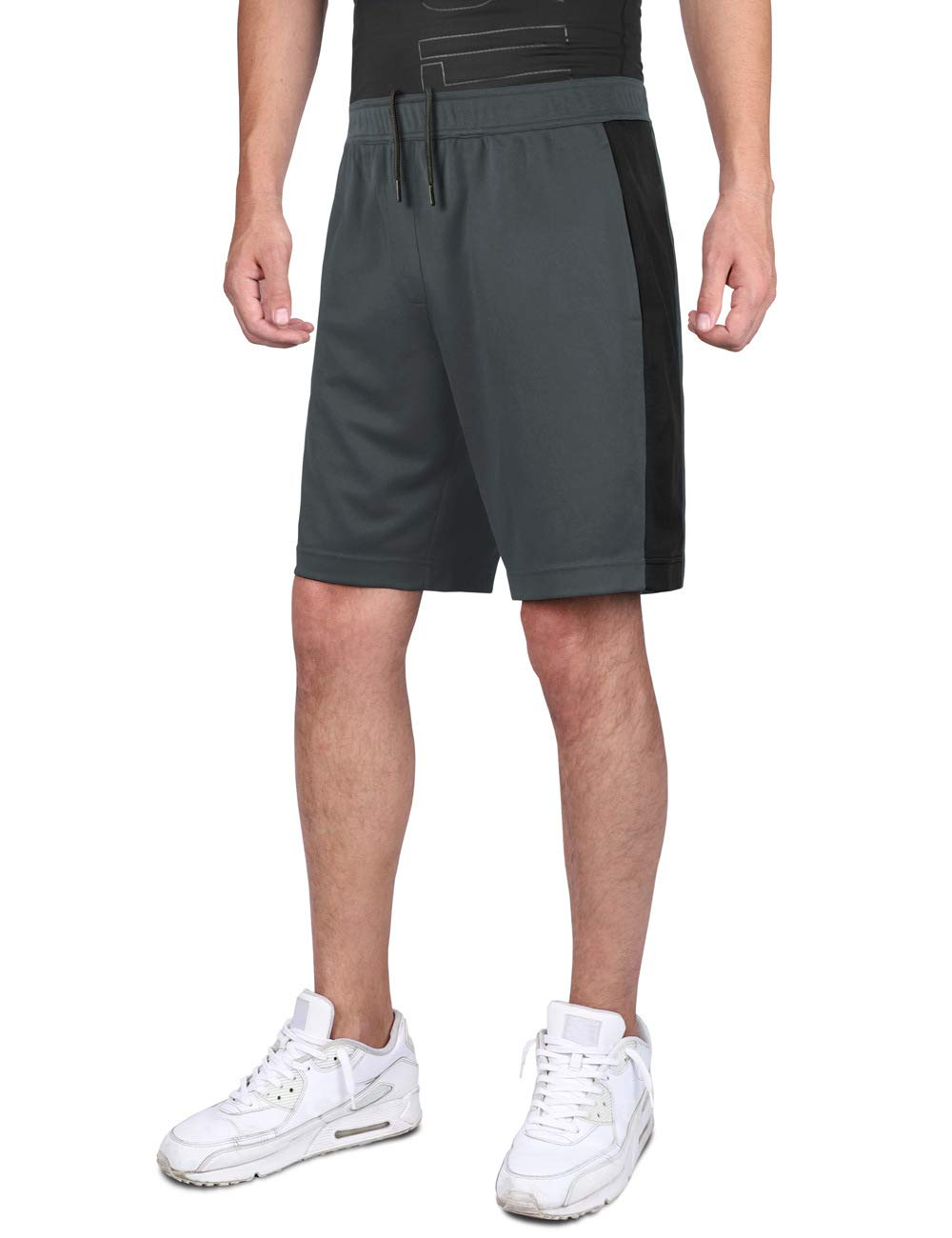 DISHANG Men's Performance Basketball Shorts Active Athletic Lightweight Workout Gym Shorts with Side Pockets Mesh Design