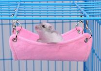 Pevor Hamster Breathable Canvas Hammock Bed Mat - Rat Mouse Hanging Bed Cage Mat with Hole in The Middle for Small Pet Cat Rat Hamster Chinchillas Ferret Guinea Pig, 2 Colors