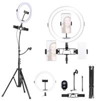 K&F Concept 10 inch Ring Light with 58 Inch Stand Flexible Hose Microphone Clip for Vlog Camera Video Smartphone YouTube Self-Portrait Makeup Shooting