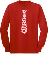 Red Hearts Tie for Valentine's Day Love Youth Kids Long Sleeve T-Shirt