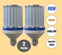 Warm White 3000k (2 Pack) 40W LED Corn Light 400 Watt equiv. E26 E27 Large Light Bulbs Porch, Backyard, Home