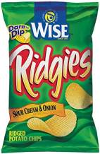 Wise Snacks Ridgies Potato Chips, Sour Cream and Onion, 1.25 Ounce (36 Count), Gluten Free