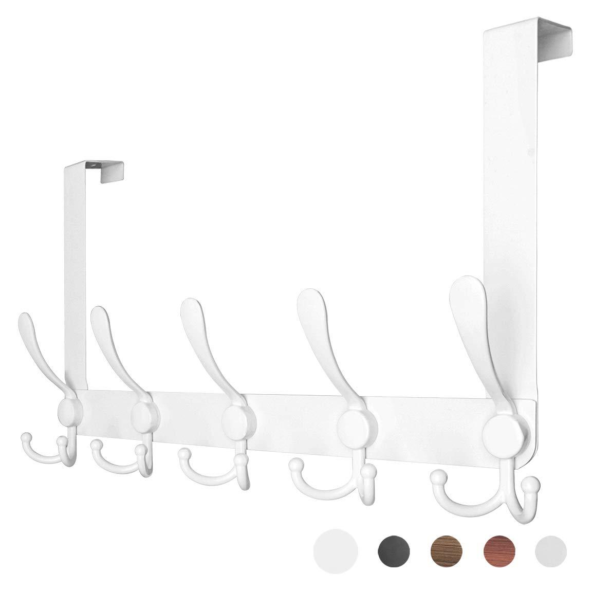 SZAT PRO Over The Door Coat Hanger Hook Rack White for Clothes Hanging Bathroom Towels Robe Office