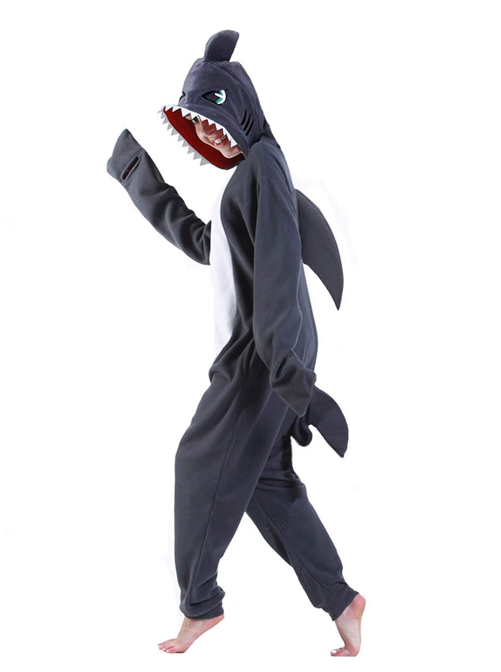 dressfan Cartoon Unisex Animal Grey Shark Costume Pajamas Adult Kids Teen Women Men