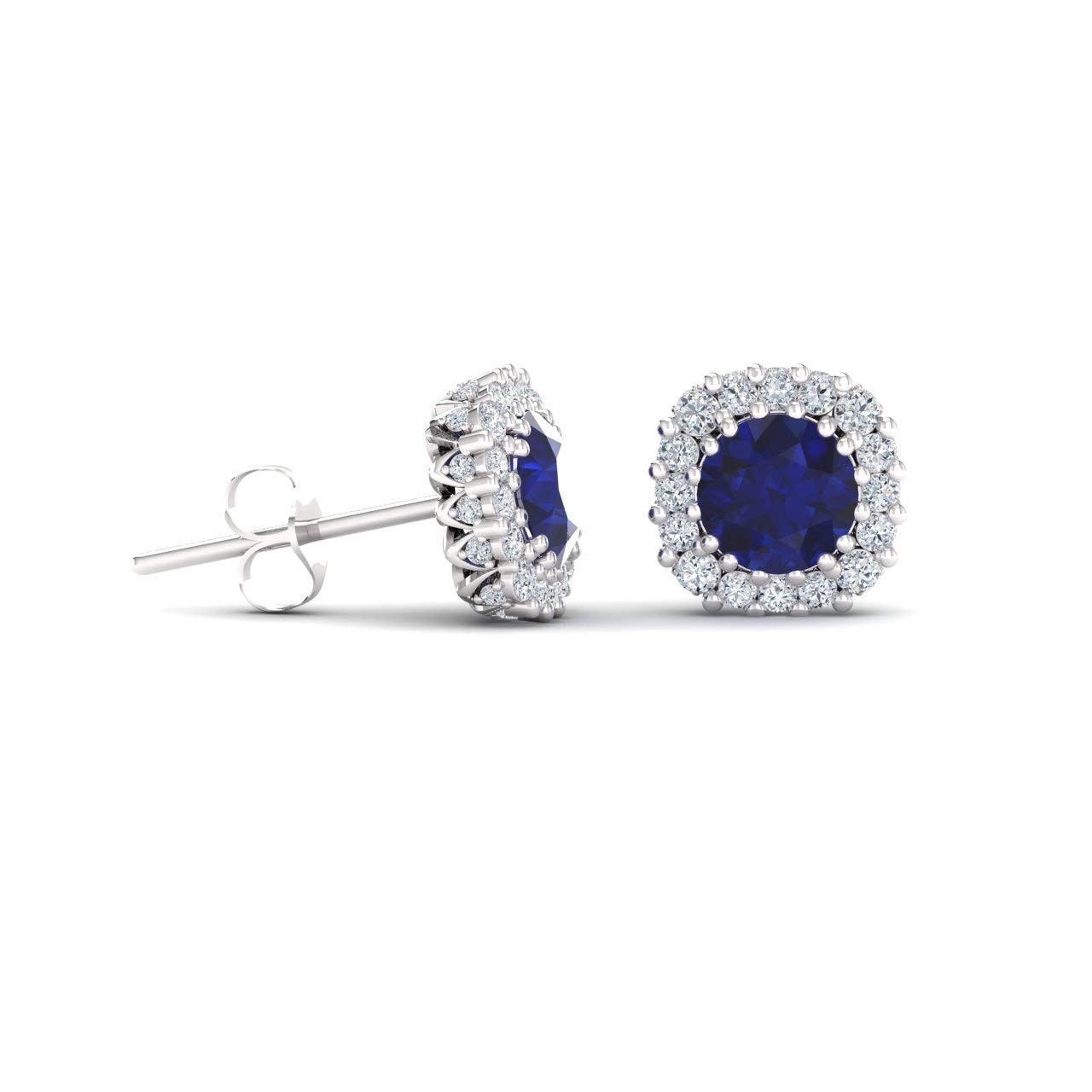 Diamondere Natural and Certified Gemstone and Diamonds Halo Earrings in 14K White Gold | 1.34 Carat Earrings for Women