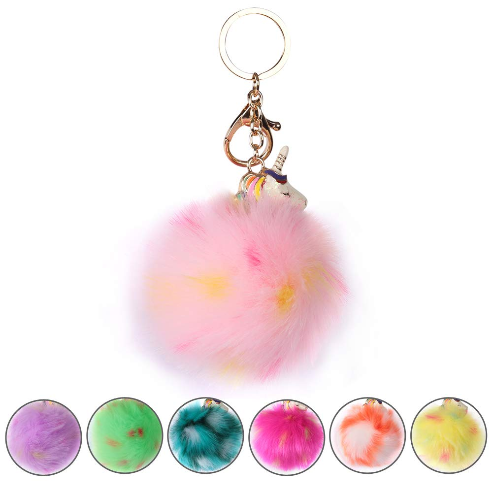 SHETOP Key Ring Bag Charm, Keychain For Women For Car Key Pop Colorful Cute Mini Rainbow Unicorn Fur Puff Ball Keychains Handbag Tote Bag Pendant for Women Party Gift Birthday Present, 1 Pack
