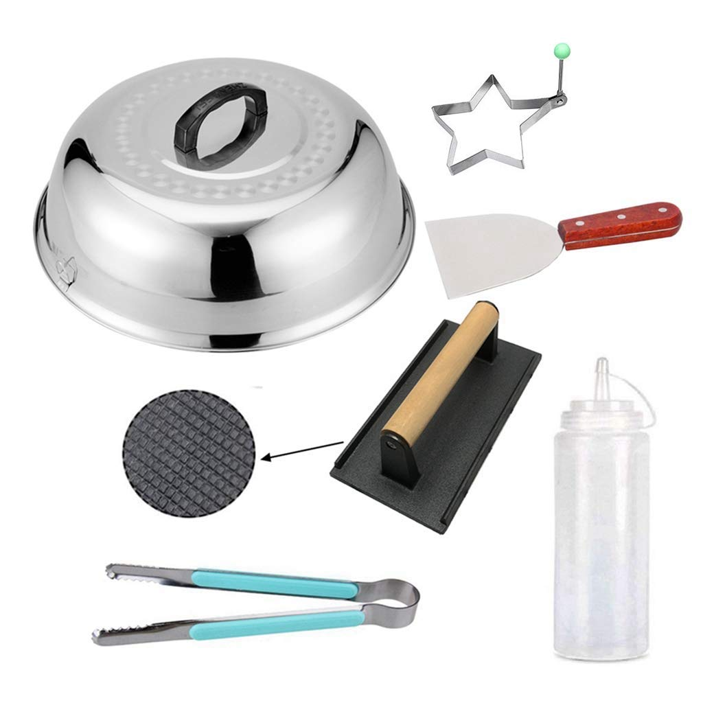 """ZHOUWHJJ Cast Iron Bacon Steak Grill Press Stainless Steel 12"""" Round Basting Cove Melting Dome Spatula Tong Oil Bottle Egg Ring BBQ Tool Set, Best for Flat Top Griddle Grill"""