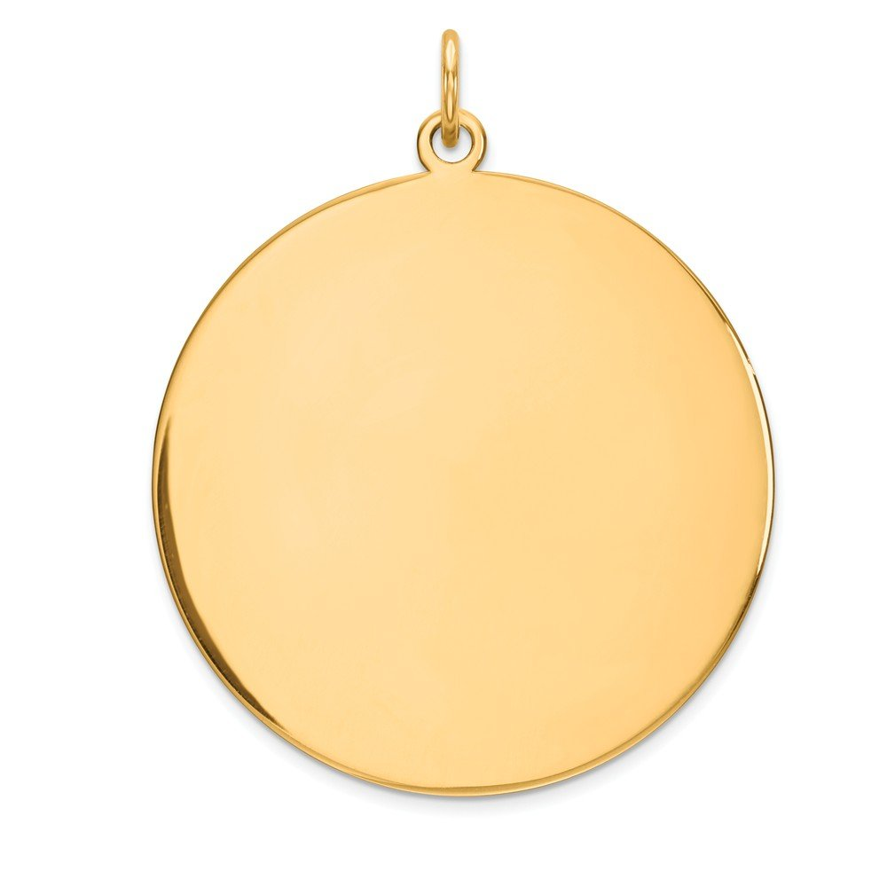 14k Yellow Gold .027 Gauge Circular Engravable Disc Pendant Charm Necklace Round Plain Fine Mothers Day Jewelry For Women Gifts For Her