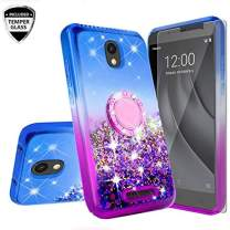 Galaxy Wireless Case for Alcatel Insight (Cricket) / TCL A1 A501DL Tempered Glass Screen Protector, Ring Kickstand Liquid Glitter Floating Waterfall Shock Proof Girls Women Phone Case, Hot Pink/Purple