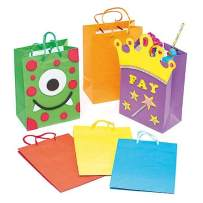 Baker Ross colored Party Gift Bags Value Pack — Creative Art Supplies for Kids to Decorate for Birthday, Gift Wrap, and Party Treats or Loot (Pack of 6)